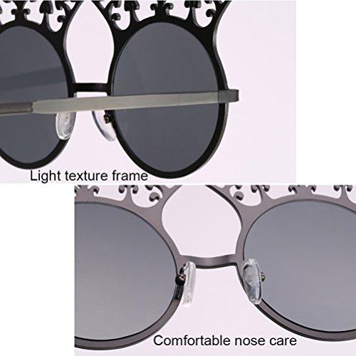 Pour Belle Armature Zhhlinyuan Accessoires Uv400 Lens Red Des Soleil Lunettes Rétro Sunglasses Womens Round Fête Les De Forme En Yeux Métal 6w6qOvrE