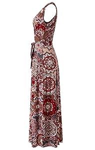 Zattcas Womens Bohemian Printed Wrap Bodice Sleeveless Crossover Maxi Dress