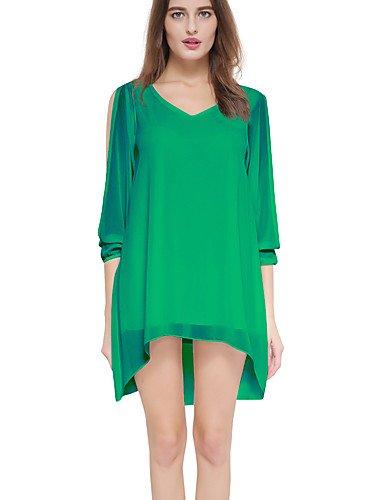 PU&PU Robe Aux femmes Trapèze / Ample Simple / Street Chic,Couleur Pleine Col en V Asymétrique Modal / Polyester , green-s , green-s