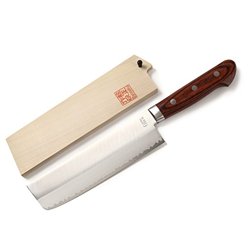 Syosaku Japan Vegetable Knife VG-1 Gold Stainless Steel Mahogany Handle, Nakiri 6.3-inch (160mm) with Magnoila Wood Saya Cover by Syosaku (Image #2)