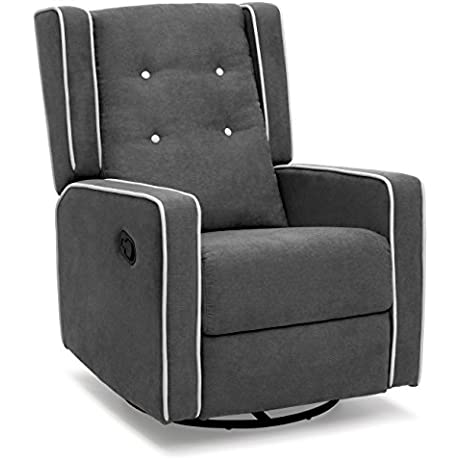 Best Choice Products Microfiber Tufted Upholstered Swivel Gliding Recliner Gray