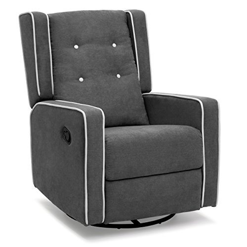 Best Choice Products Midcentury Wingback Design Tufted Microfiber Upholstered Swivel Glider Recliner Accent Chair for Home, Living Room, Study, Nursery - Gray