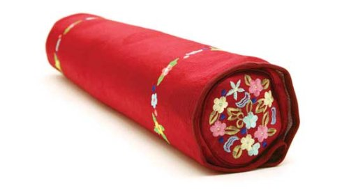 Decorative Pillow Features Activated Bamboo Carbon and Natural Color Dyes, Cylindrical, Red
