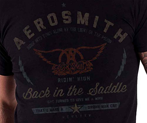 Black New Saddle In Aerosmith Stampa Maglietta The Men Official Back Distressed w4pnUqv0p