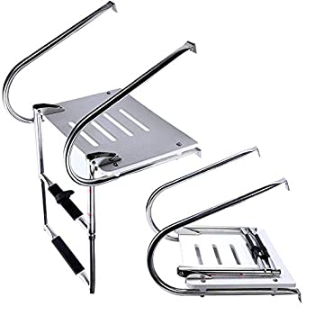 Image of Amarine Made Boat in-Board High Strength Polyethylene Swim Platform with 2-Steps Stainless Ladder Deck Hardware