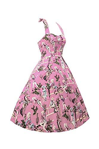 Kleid Mädchen 34 44 Linie Rückenfrei Kleid LOBTY Hepburn West Vintage Jahre 50er AbendKleider Pink Falten Knielang A Gr Retro Plissee Audrey Rock Sexy Damen q1Bwv7