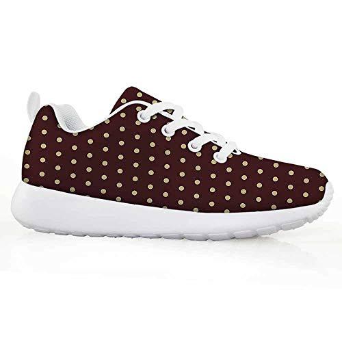 iPrint Abstract Decor Children Running Shoes Old Fashion Retro Polka Dots Motif Feminine Fashion Repeating Round ()