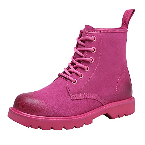 ICEGREY Damen Nubukleder Mid Kurzschaft Stiefel Chukka Winter Boots Stiefeletten Rosa EU 38