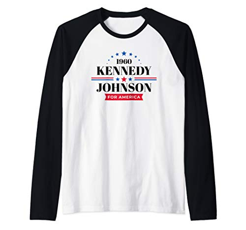 - JFK Shirt John F Kennedy Johnson Campaign  Raglan Baseball Tee
