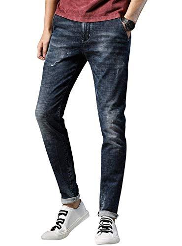 Lannister Fashion Hombres Jóvenes Hombres Popular Deportes Elásticos Ufige Jeans Skinny Verano Hombres Cómodos Partes Inferiores Respirables Al Aire Libre Blau