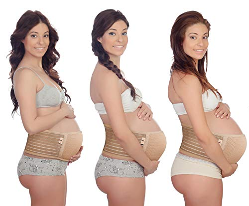 Maternity Belt by Relief Living   Breathable Adjustable Elastic and Thin Belly Band/Brace   Provides Hip, Pelvic, Lumbar and Lower Back Compression Support and Pregnancy Pain Relief   Soft   Beige