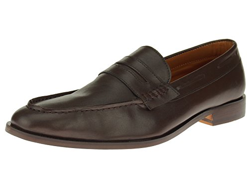 [Luciano Natazzi Mens Slip-On Full Leather Penny Loafer Dress Shoe SL308 (44 M EU / 11 D(M) US, DK Brown)] (Italian Suede Penny Loafer)