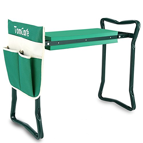 TomCare Garden Kneeler Seat Garden Bench Garden Stools Fordable Stool with Tool Bag Pouch EVA Foam Pad Outdoor Portable Kneeler for Gardening(Large-21.65