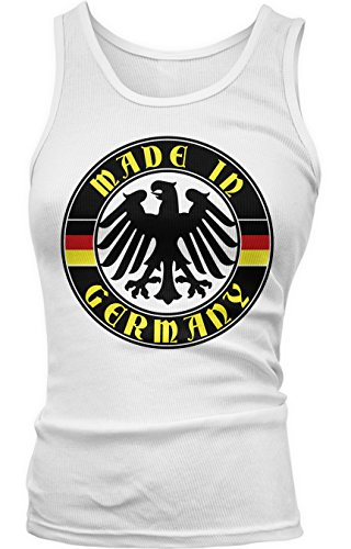 Amdesco Junior's Made in Germany, German Eagle and Flags Tank Top, White Small