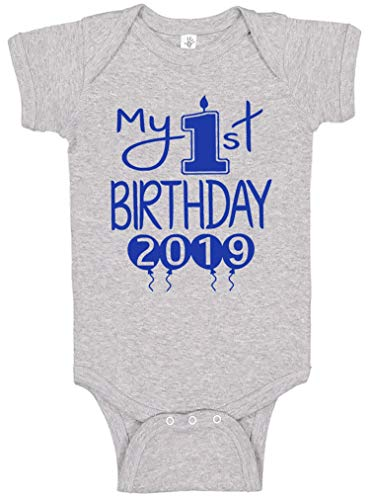 Aiden's Corner Handmade First Birthday Baby Clothes - Baby Boys My 1st Birthday Bodysuits Shirts and Outfits (12 Months, 2019 Royal Heather)]()