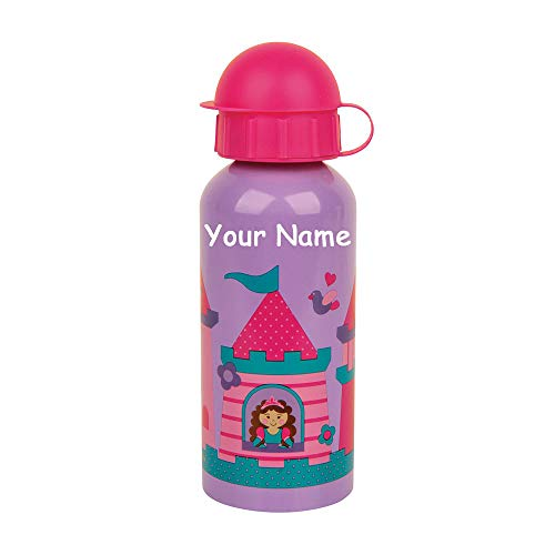 Personalized Stainless Steel Flip Top Water Drink Bottle Princess Castle Print Design with Custom Name