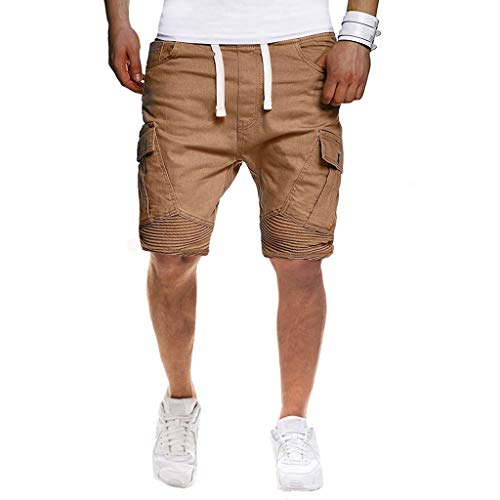 iZHH Men's Shorts Sport Pure Color Bandage Casual Loose Sweatpants Drawstring Shorts Pant ()
