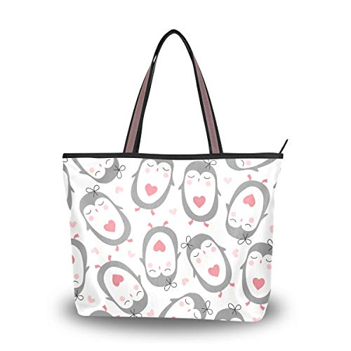 Woman Tote Bag Shoulder Handbag Loving Penguin for Work Travel Business Beach Shopping School