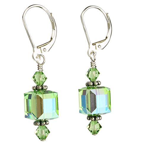 Lime Green Earrings (Light Green Sterling Silver Leverback Earrings 8mm Cube Made with Swarovski Crystals)