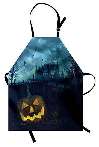 Lunarable Halloween Apron, Halloween Pumpkin in Spooky Graveyard Eerie Gloomy Stormy Atmosphere, Unisex Kitchen Bib Apron with Adjustable Neck for Cooking Baking Gardening, Petrol Blue Yellow -