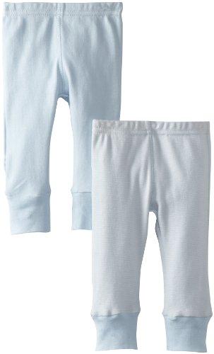 Kushies Unisexbaby Newborn Everday Mocha Layette 2 Pack Pants, Blue Solid/Stripe, 6 Months