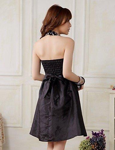 PU&PU Robe Aux femmes Grandes Tailles Soirée , Couleur Pleine Licou Mi-long Satin , black-l , black-l