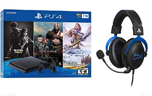 PlayStation 4 Slim 1TB Console + HyperX Cloud Licensed Gaming Noise Cancelling Headset Headphones + 3 Games (God of War, The Last of US, Horizon Zero Dawn) Bundle
