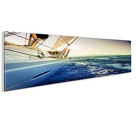 Segelyacht Panorama Format Bild auf Leinwand Poster Wandbilder