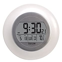 Taylor Wireless Digital Atomic Wall Clock with Indoor Temperature