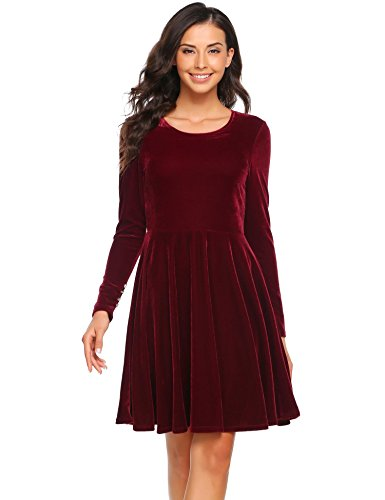Neck Line Dress Red Pleated Zipper Dress With 1 Velvet Sleeve O cindere Women Long Back A Wine Solid qFpn01