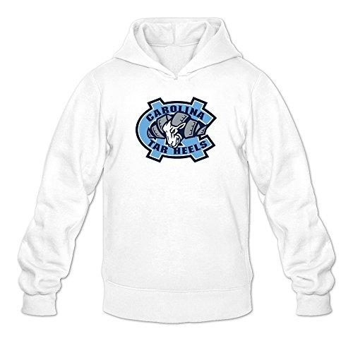 Men North Carolina Tar Heels Mascot Head Logo Hoodie Sweatshirt White