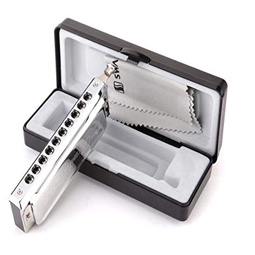 MUZIWENJU Harmonica, 10-hole 40-tone Chromatic Scale Plastic Box Harmonica, White (Color : White)