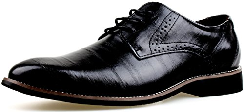 LIYZU Men's Leather Lace up Modern Dress Oxford Shoes US Size 11.5 Black