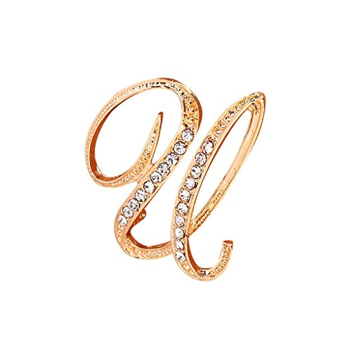 Toponly Memorial Jewelry Love Gifts A-Z 26 Letters Brooches Gold Plated Metal Broaches Pins-Clear Crystal Initial - Butterfly Brooch Two Tone