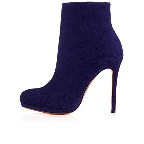 Arc-en-Ciel zapatos de Arc-en-Ciel mujeres de alto tacón de la bota de gamuza tobillo Azul