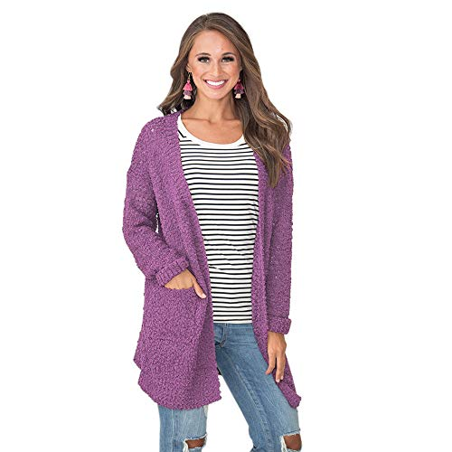 The Honest One Women's Long Sleeve Popcorn Cardigan,Soft Knit Sweater Open Front Coats with Pockets (Purple, M)