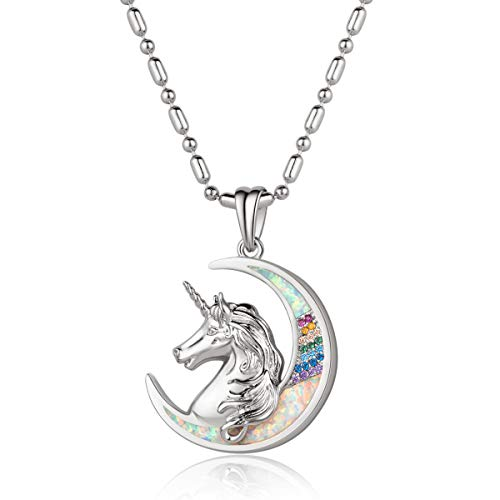 Karseer Unicorn Crescent Moon Pendant Necklace Beautiful Mane Rainbow Crystal and Glitter White Opal Magic Necklace Jewelry Christmas Year Gift for Women Girls Kids (White Gold)
