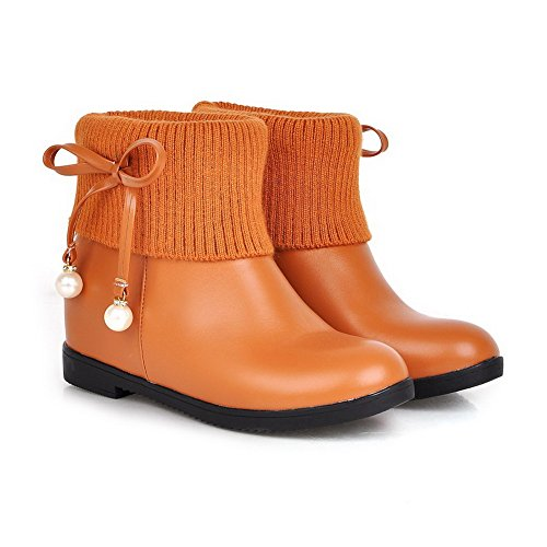 Kitten Round PU Brown top Women's Toe with Low Jewels Boots Allhqfashion Solid Heels Closed CFn4aw