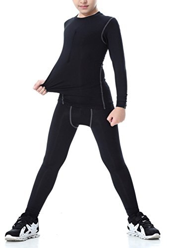 - LANBAOSI Boys & Girls Long Sleeve Compression Shirts and Pant 2 PCS Set, Black, 12