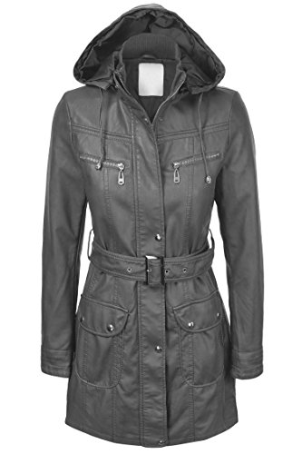 Made By Johnny WJC741 Womens Hooded Faux Leather Trench Parka Coat XS Gray (Leather Parka Hooded)