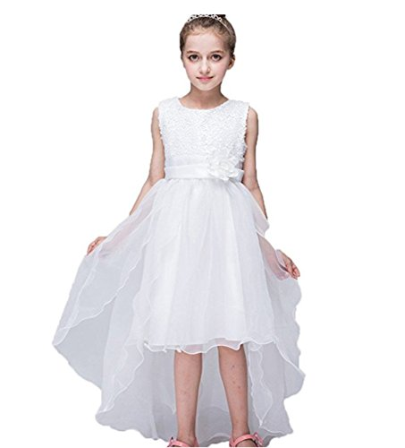 Azhido Kids Flower Sequins Occasion Tailing Dress Girls Pageant Size 6 to 12 (6, (Girls Hi Lo Pageant Dresses)