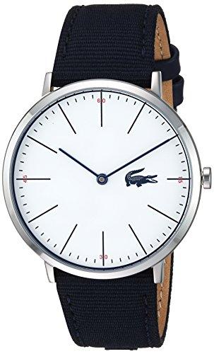 Lacoste Men's Moon Ultra Slim Stainless Steel Quartz Watch with Nylon Strap, Blue, 20 (Model: 2010914