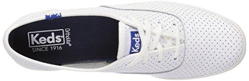 Keds-dameskampioen Retro-court Perf-lederen Fashion-sneaker Wit / Blauw