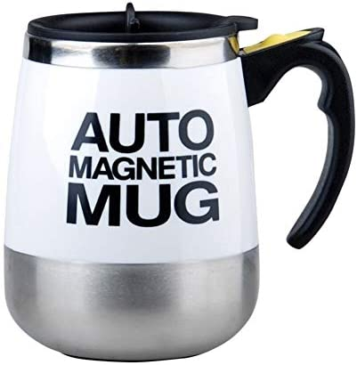 Yorten 400ML automatische magnetische Becher Mischen Edelstahl Kaffee-Milch-Saft Cup Insulated Rühren Mix-Flasche Verstellbarer Mahlgrad (Color : White)
