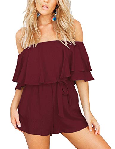 Rompers for Women Bohemian Swimwear Holiday Short Jumpsuit Playsuit Red XL ()