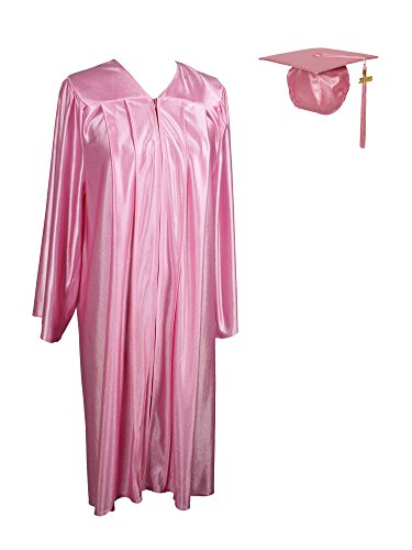 GraduationService Unisex Adult Graduation Shiny Gown Cap Tassel 2019 Year Charm Package Pink