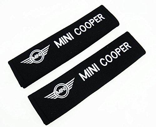 MINI COOPER EMBROIDERED BADGE SEAT BELT PADS TLC Auto Accessories