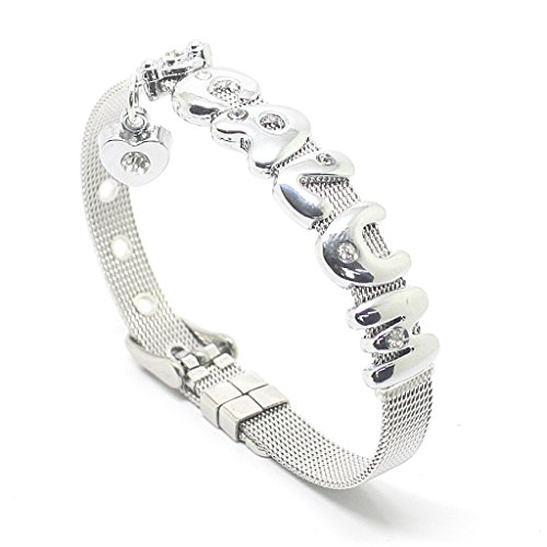 Fanstown Luke Calum accessories handmade titanium letter diamond heart wristband bracelet