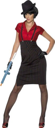 [Smiffy's Women's 1920S Gangster Costume and with Skirt Shirt Braces and Gloves, Red/Black, Large] (Gangster Dresses)