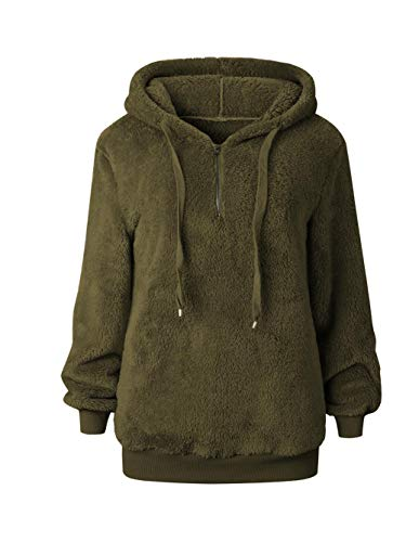 Famulily Women's Zip Up Hoodie Sweatshirt Oversized Warm Fuzzy Pocket Fleece Pullover Sherpa Army Green XL - Green Sherpa